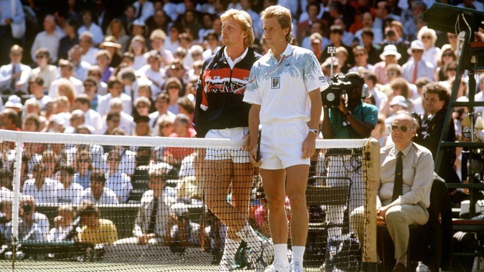 Boris Becker y Stefan Edberg, en la final de Wimbledon de 1990.