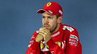 Sebastian Vettel en conferencia de prensa con Ferrari.