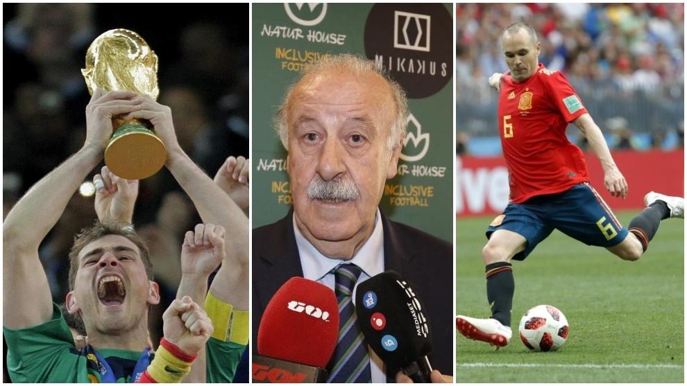 Casillas, Del Bosque e Inista, héroes del Mundial de Sudáfrica.