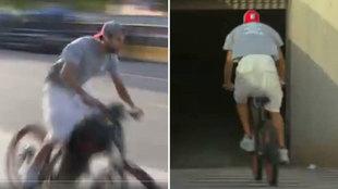 Piqué llegó al Camp Nou... ¡en bicicleta!