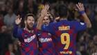 Messi, Griezmann y Suárez en el partido de Champions contra el...