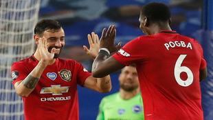 Pogba y Bruno Fernandes celebran un gol contra el Brighton.