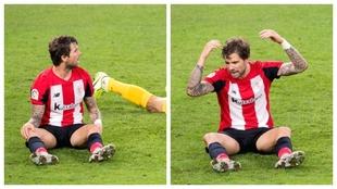 Iñigo Martínez pide penalti  tras el agarrón de Munir en el partido...