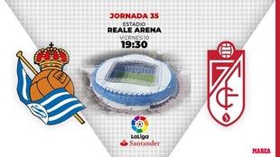 Real Sociedad - Granada: horario y dónde ver hoy en TV el partido de...