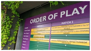 Imagen de una de las pizarras del All England Club