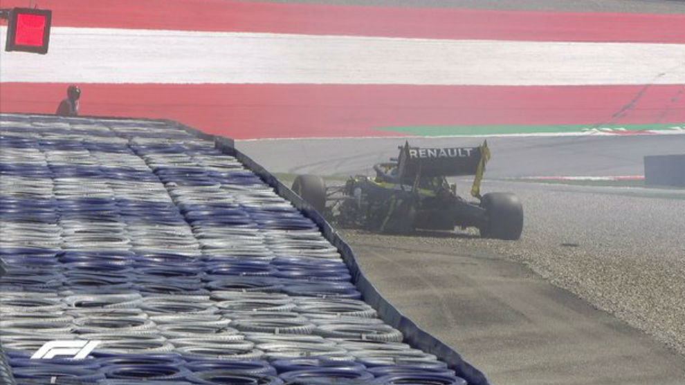 Así quedó el Renault de Daniel Ricciardo, tras su accidente en los...