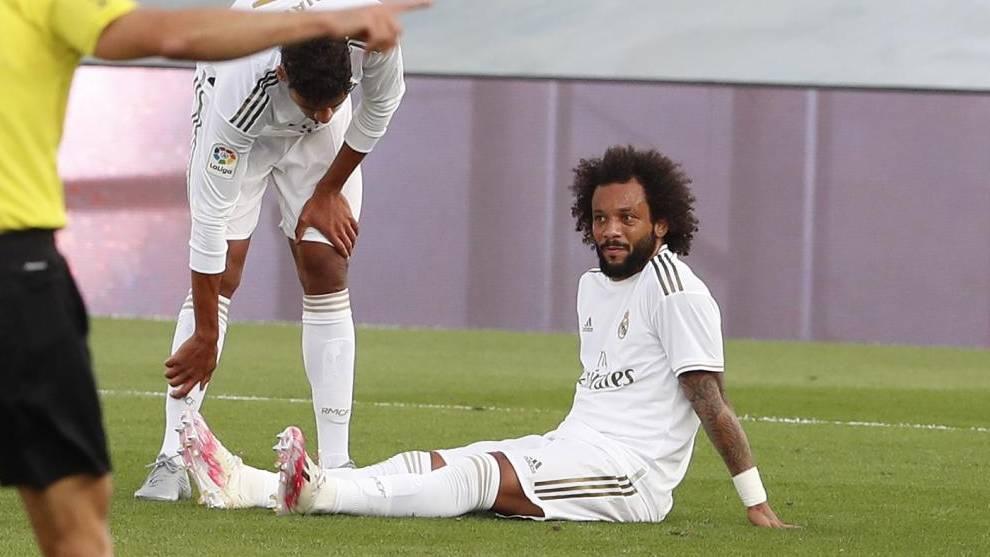 Marcelo, durante el partido ante el Eibar en Valdebebas