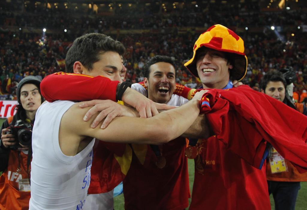 Capdevilla celebrando con sus compañeros el título en Sudáfrica.
