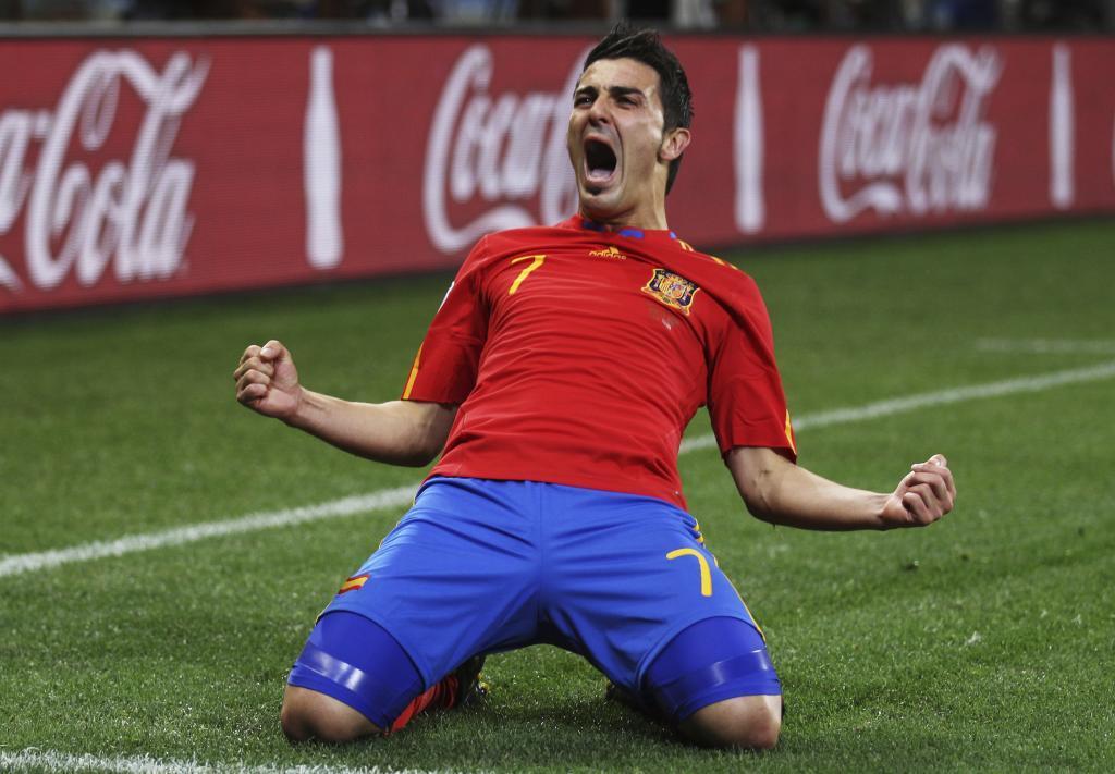 David Villa celebrando un gol.