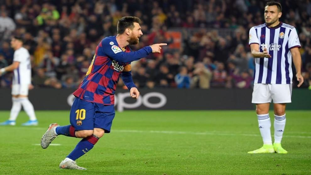 Messi celebra un gol en el partido contra el Valladolid de la primer...