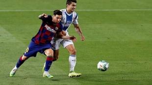 Messi durante el aprtido ante el Espanyol.