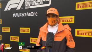 Sainz, durante la rueda de prensa posterior a al clasifiación en...