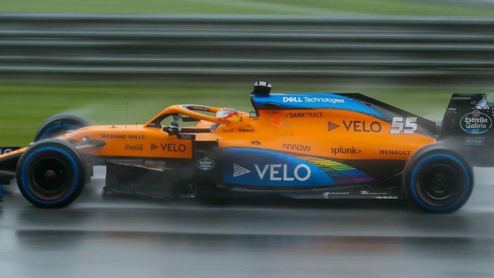 Carlos Sainz, con el McLaren MCL35, en la Clasificación del GP de...