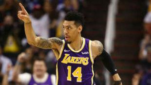 Danny Green, en un partido con los Lakers