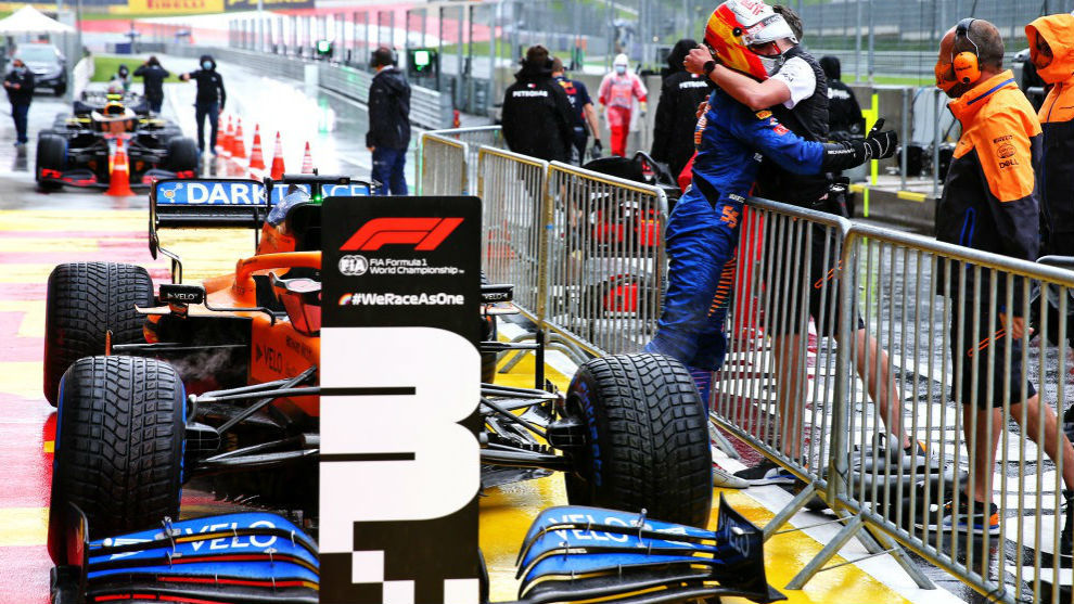 Carlos Sainz, celebrando ayer en el Red Bull Ring su gran...
