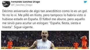 El tuit de Sánchez Dragó y el grito de Iniesta tras marcar el gol en...