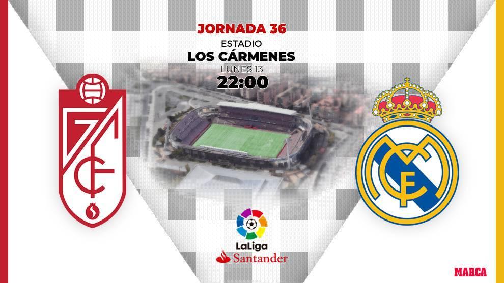 Granada y Real Madrid se enfrentan esta noche en el Estadio Los...