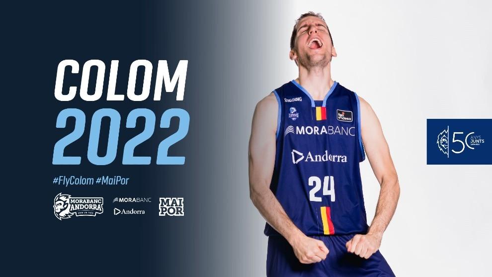Así anunció el Andorra la renovación de Guille Colom en su web...