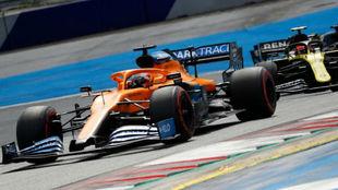 Sainz, durante los primeros compases de la carrera de hoy.