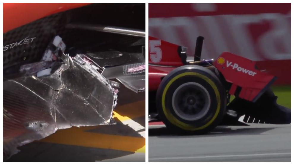 Así quedaron los dos Ferrari tras colisionar en el circuito Red Bull...