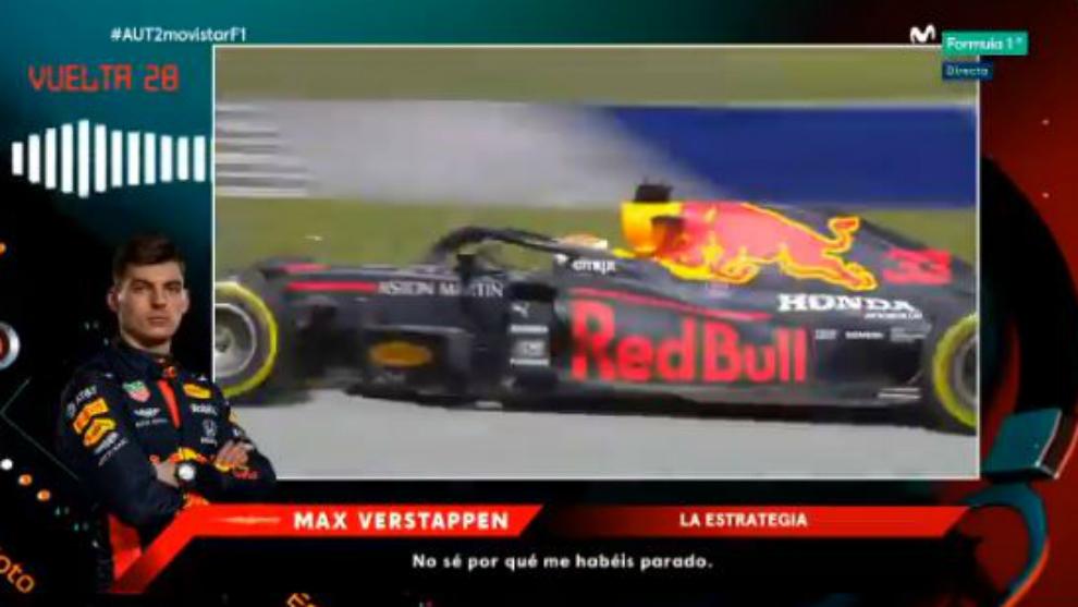 Momento en el que Verstappen duda de su equipo.