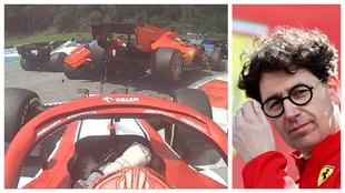 Binotto, junto al momento en el que Leclerc y Vettel colisionaron.