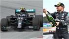 El Mercedes de Bottas, y el piloto en el podio del GP de Estiria.