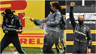 Lewis Hamilton en el podio de Estiria, celebrando su victoria.