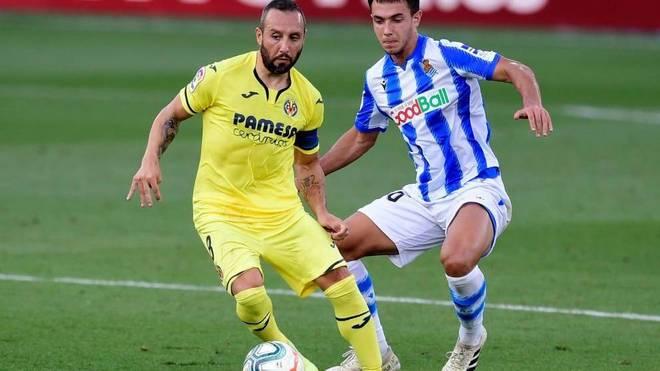 Cazorla, durante un lance del partido contra la Real Sociedad