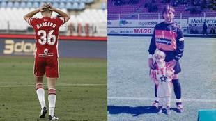Iván Barbero, con el Almería... y de niño junto a su padre, José...