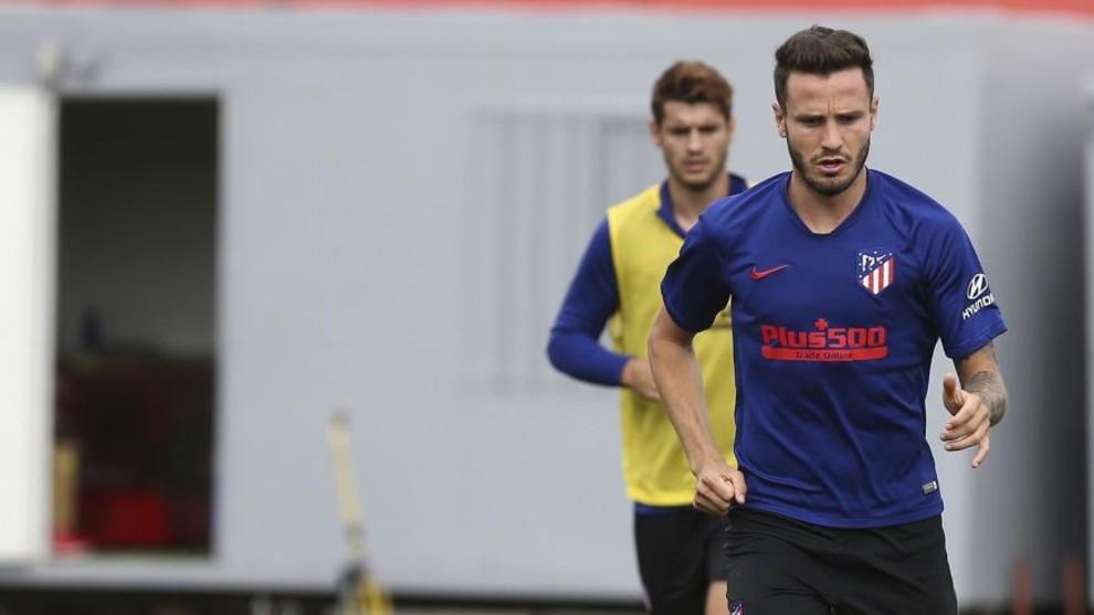 Saúl Ñíguez durante un entrenamiento del Atlético de Madrid.