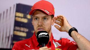 Sebastian Vettel en una rueda de prensa.
