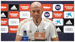 Zinedine Zidane, durante la conferencia de prensa del Real Madrid.