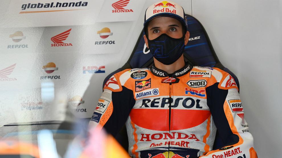 Álex Márquez, protegido con una mascarilla.