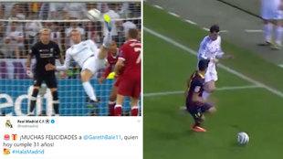 El Madrid felicita a Bale por sus 31 años recordando sus mejores golazos