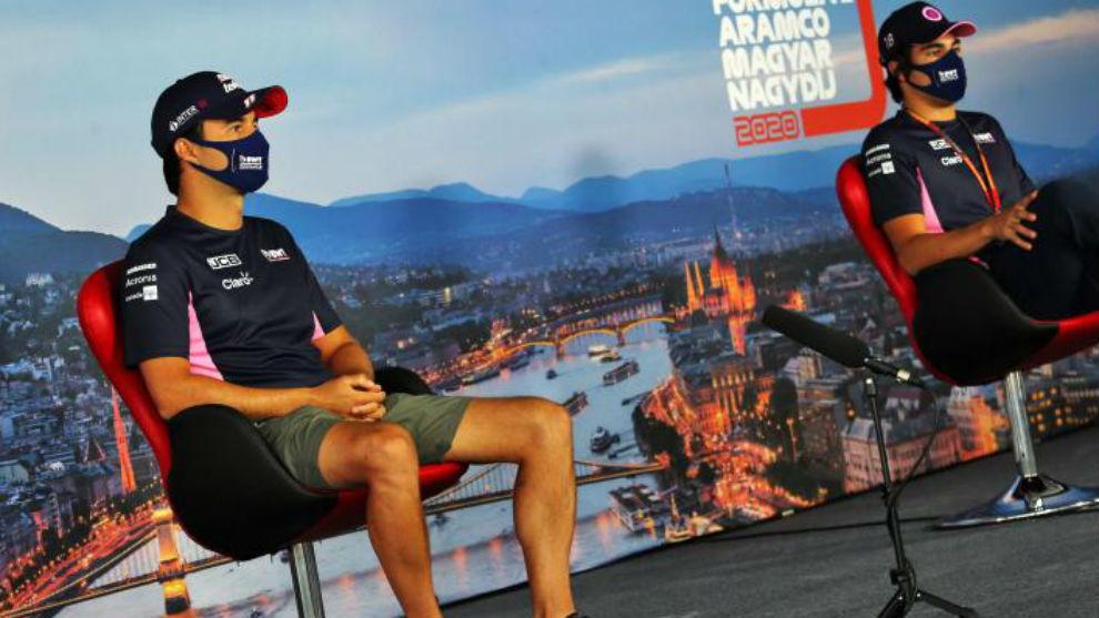 Checo Pérez y Lance Stroll, en la rueda de prensa previa al GP de...