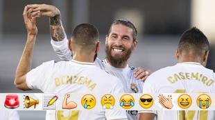 Benzema y Ramos celebran el 1-0