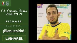 Jhonatan Linhares, el nuevo jugador del Osasuna Magna