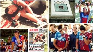 Montaje con varias imágenes sobre el accidente e Casartelli