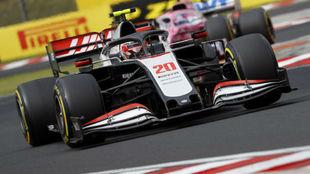 Magnussen, durante la carrera de hoy en Hungaroring.