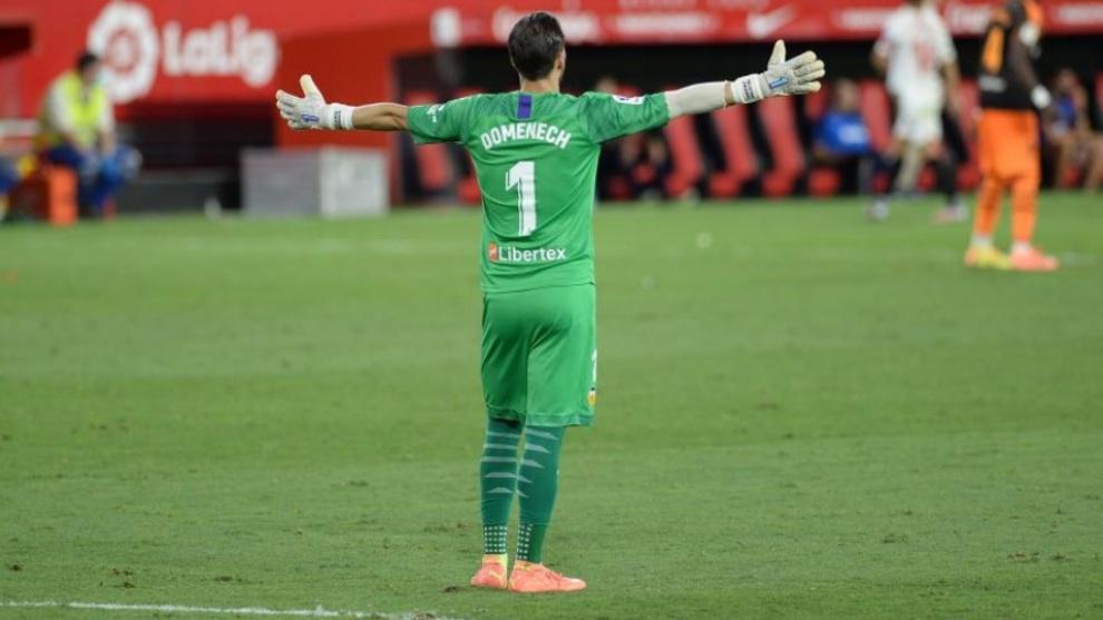 Jaume Doménech, durante el partido en el Pizjuán.