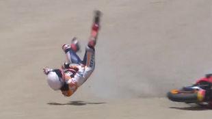 Así fue la escalofriante caída de Márquez en Jerez.