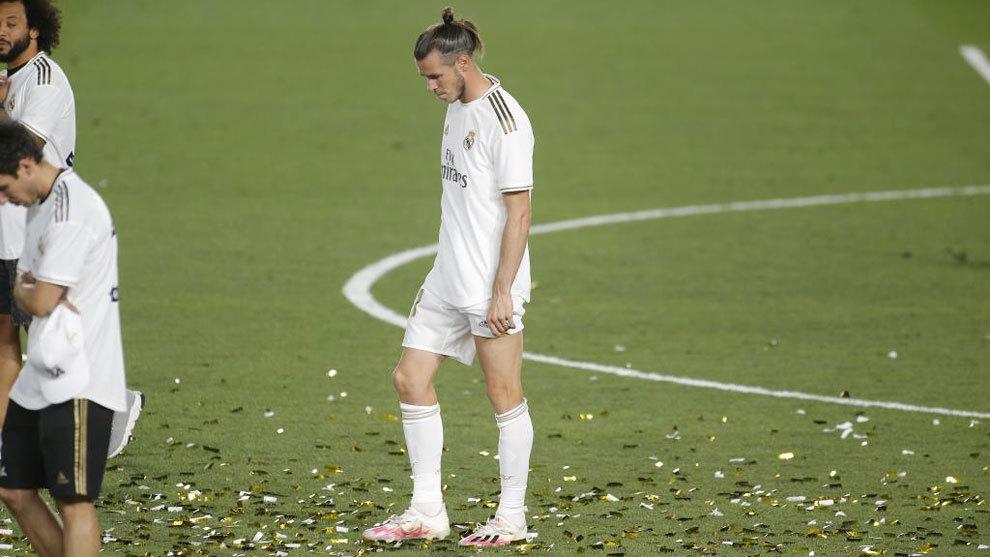 Gareth Bale, cabizbajo durante la celebración de LaLiga