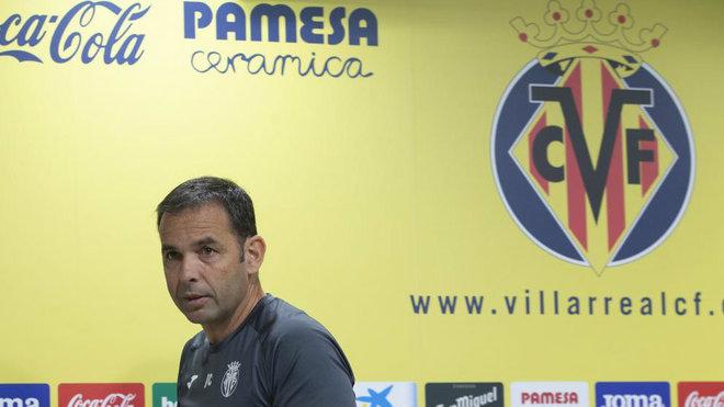 Calleja en una rueda de prensa del Villarreal.