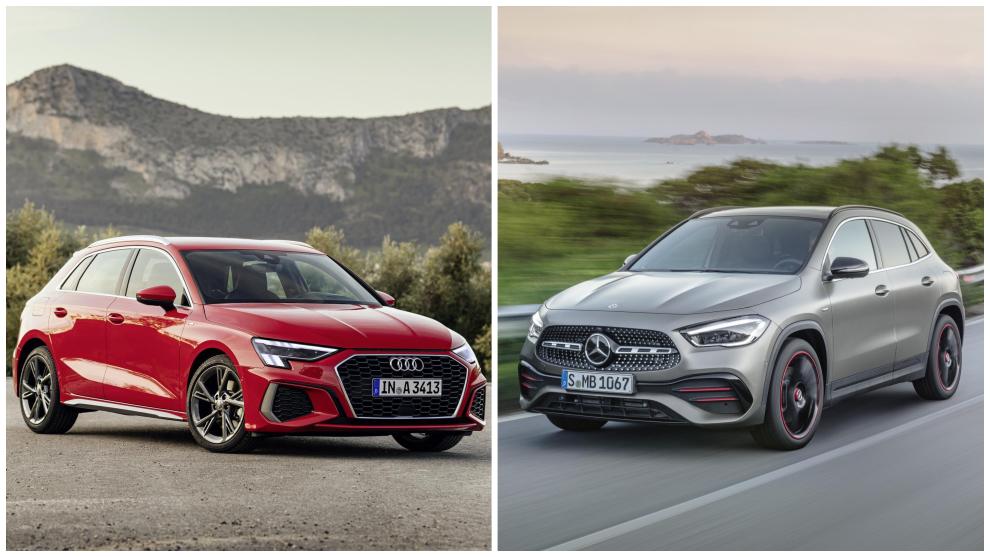 El Audi A3 Sportback y el Mercedes-Benz GLA.