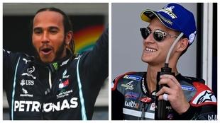 Lewis Hamilton y Fabio Quartararo, tras sus respectivas victorias en...