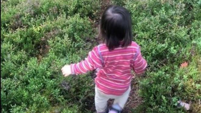 Maj se desvía del camino para coger frutos silvestres.
