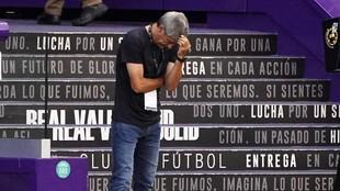 Setién, durante un partido con el Barcelona.