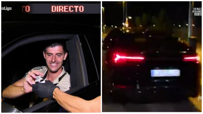 Courtois recibe La Cibeles en miniatura a bordo de su Lamborghini Urus.