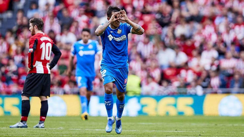Damián Suárez celebra su gol ante el Athletic